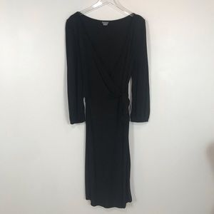 NWOT Ann Taylor long sleeve black wrap dress